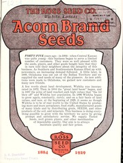 Cover of: Acorn Brand seed supplies, 1884-1929 | Ross Brothers Seed Company