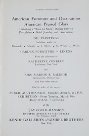 Cover of: American furniture and decorations, American pressed glass | Kende Galleries at Gimbel Brothers