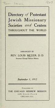 Cover of: Directory of Protestant Jewish missionary societies and centers throughout the world