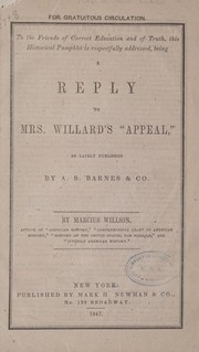 "Cover of: A reply to Mrs. Willard's ""Appeal,"""