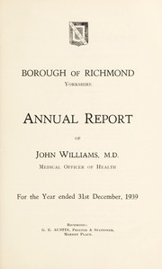 Cover of: [Report 1939] | Richmond (North Yorkshire, England). Borough Council
