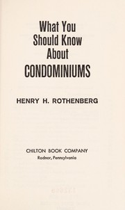 Cover of: What you should know about condominiums