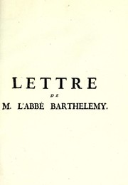 Cover of: Lettre de m. l'abbé Barthelemy