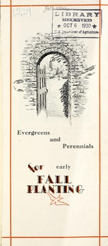 Cover of: Evergrees and perennials for early fall planting [bulletin and price list]