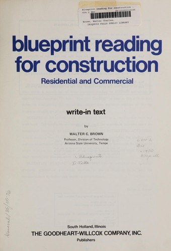 Blueprint reading for construction 1980 edition open library blueprint reading for construction by brown walter charles malvernweather Images