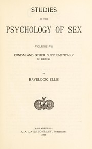 Cover of: Studies in the psychology of sex