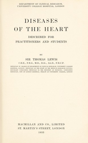 Diseases of the heart by Lewis, Thomas Sir