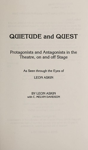 Quietude and quest by Leon Askin