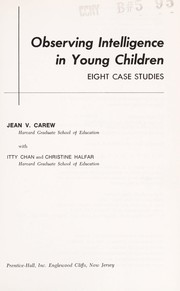 Cover of: Observing intelligence in young children | Jean V. Carew