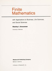 Cover of: Finite mathematics