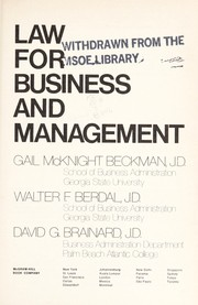 Cover of: Law for business and management