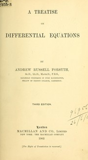 Cover of: A treatise on differential equations