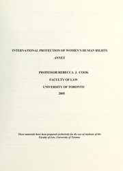 Cover of: International protection of women's human rights