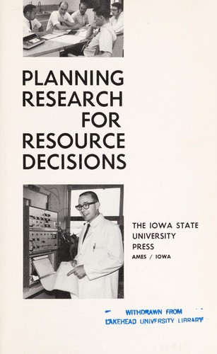 Planning research for resource decisions by [by] Carl H. Stoltenberg [and others.