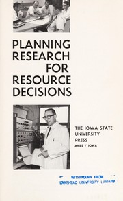 Cover of: Planning research for resource decisions | [by] Carl H. Stoltenberg [and others.
