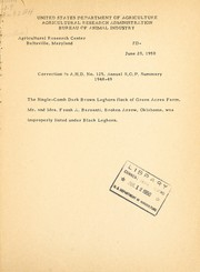 Cover of: Correction to A.H.D. No. 125, annual R.O.P. summary, 1948-49 | United States. Bureau of Animal Industry