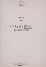 Cover of: An index to the collected works of J. V. Stalin | Jack F. Matlock