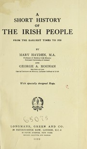 Cover of: A short history of the Irish people from the earliest times to 1920
