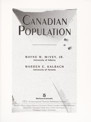 Cover of: Canadian population | Wayne William McVey