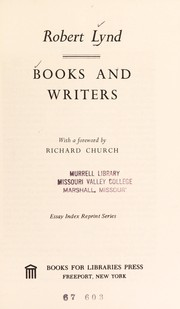 Cover of: Books and writers. | Lynd, Robert