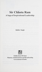 Cover of: Sir Chhotu Ram: a saga of inspirational leadership