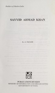 Cover of: Sayyid Ahmad Khan