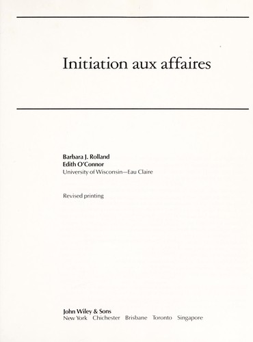 Initiation aux affaires by Barbara Rolland
