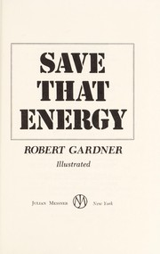 Cover of: Save that energy