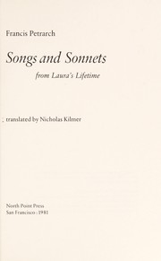 Cover of: Songs and sonnets from Laura's lifetime | Francesco Petrarca