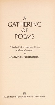 Cover of: Gatherng of Poem | Maxwell nurnberg