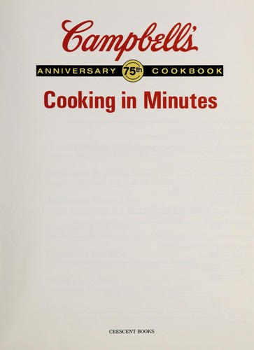 Campbell's (R) Cooking in Minutes by RH Value Publishing