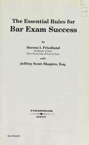 Cover of: The essential rules for bar exam success