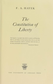 Cover of: The constitution of liberty