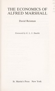 Cover of: The economics of Alfred Marshall | David A. Reisman