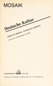 Cover of: Deutsche Kultur | Horst M. Rabura