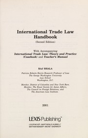 Cover of: International Trade Law Handbook, 2000 | Raj K. Bhala, Patricia Roberts Harris
