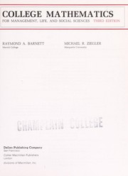 Cover of: College mathematics for management, life and social sciences | Raymond A. Barnett