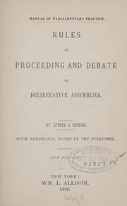 Cover of: Manual of parliamentary practice
