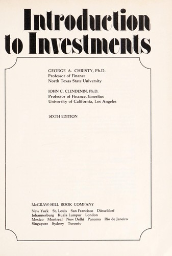 Introduction to investments by George A. Christy