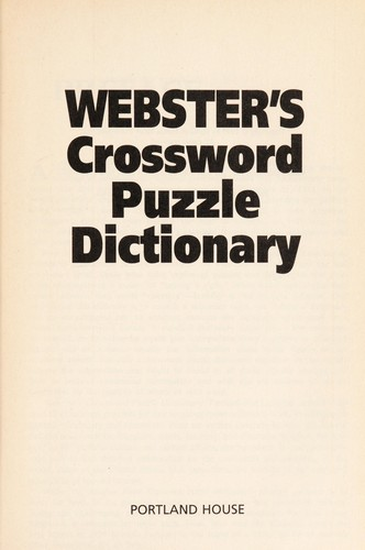 Webster's Crossword Puzzle Dictionary by RH Value Publishing