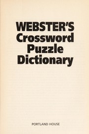 Cover of: Webster's Crossword Puzzle Dictionary | RH Value Publishing