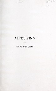 Cover of: Altes zinn