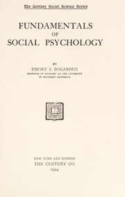 Cover of: Fundamentals of social psychology