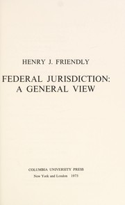 Cover of: Federal jurisdiction