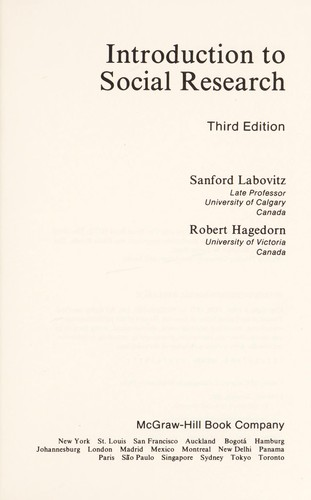 Introduction to social research by Sanford Labovitz