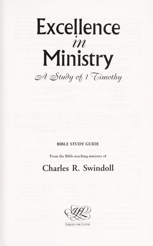 Excellence in Ministry (Swindoll Bible Study Guides) (March 1996
