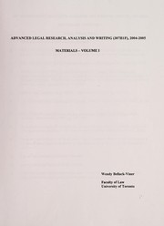 Cover of: Advanced legal research, analysis and writing (307H1F), 2004-2005 | Wendy Bellack-Viner