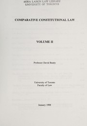 Cover of: Comparative constitutional law | David M. Beatty