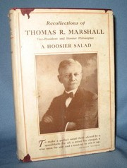 Cover of: Recollections of Thomas R. Marshall, Vice-President and Hoosier Philosopher | Marshall, Thomas R.