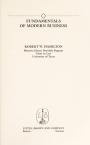 Cover of: Fundamentals of modern business | Robert W. Hamilton